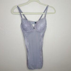 Victoria's Secret Lingerie Gray Lace Garter Tank B